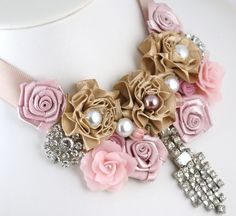 Vintage Rhinestone Brooch and Buttons, Handmade Satin and Polymer Clay Flowers and Czech Pearls