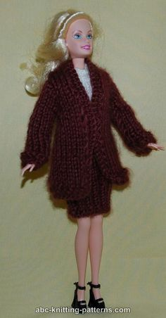 ABC Knitting Patterns - Barbie Elegant 2-Piece Suit (Long Coat and Skirt)