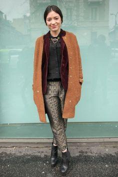 Milan Fashion Week Fall 2013 Street Style / Photo by Anthea Simms #howtowearashinyanklepant #offbeat
