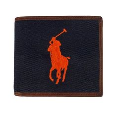Polo Ralph Lauren Navy Blue Canvas Orange Big Pony Embroidery Leather Wallet Aviator Navy * See this great product.