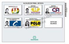 Tarjetón de elección para Alcalde de Pisba