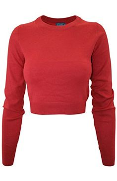 2LUV Women's 2LUV Women Soft Knit Crop Long Sleeve Sweater Deep Coral L
