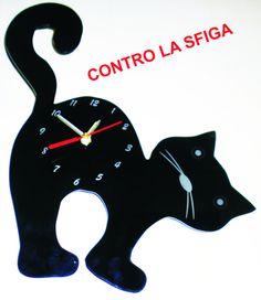 OROLOGIO in plexiglass nero a forma di gatto di laserclock su Etsy