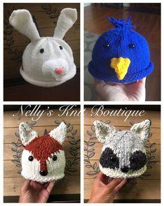 Animal Baby hats, Racoon baby hat, Fox baby hat, Rabbit baby hat by NellysKnitBoutique on Etsy Crochet Photo Props, Fox Hat, Bunny Hat, Ear Warmer Headband, Rabbit Baby, Animal Hats, Newborn Photo Props, Newborn Photos, Newborn Crochet