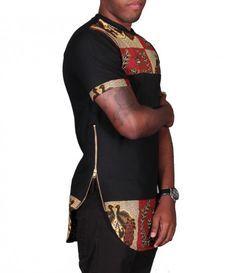 Ankara Longline T-Shirt African Attire, African Wear, African Women, African Dress, African Print Fashion, Africa Fashion, Ankara Styles For Men, African Shirts For Men, Style Africain