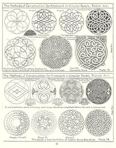 The Methods of Construction for Knotwork in Circular Panels . from Book of Kells Viking Designs, Celtic Knot Designs, Celtic Symbols, Celtic Art, Celtic Decor, Celtic Dragon, Celtic Knots, Celtic Drawings, Celtic Patterns