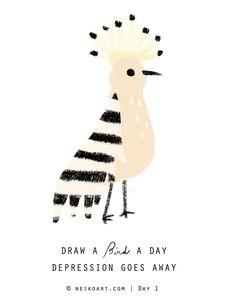 Draw a Bird a Day by Neiko Ng (via Neiko Art).