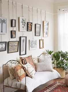 Bedroom Wall Molding Ideas: You Will Love These Easy And Fun Picture Hanging Tricks Gallery Wall Bedroom, Bedroom Wall, Wall Beds, Bedroom Decor, Rustic Gallery Wall, Bedroom Ideas, Gallery Walls, Master Bedroom, Picture Rail Molding