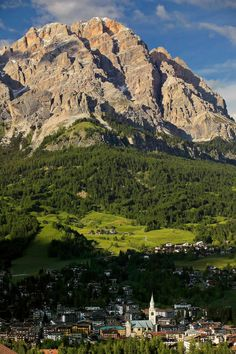 Cortina d'Ampezzo and Mount Cristallo, Dolomites, Province of Belluno, Veneto region Italy Places Around The World, Travel Around The World, Around The Worlds, Turin, Places To Travel, Places To See, Rome, Milan, Regions Of Italy