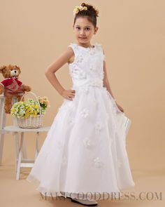 2015 Attractive Flower(s) Bateau Ankle-length Flower Girl Dresses