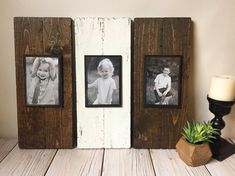 These custom made picture frames are a beautiful combination of simplicity and rustic charm. This set of 3 separate plank frames is perfect for your mantle piece or that empty wall in need of some character. The primitive, yet practical design allows for an easy change of photographs with the mounted plastic photo sleeve. Each sleeve holds a 4x6 picture.  Handcrafted out of pine and plywood, each plank was lovingly roughed up then stained and painted in the colors of your choice. Each of…
