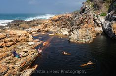 Swimmer in Pond at Waterfall, Tsitsikamma National Park, Garden Route, Eastern Cape, South Africa