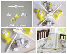 $80.00 Baby Mobile -Baby Crib Mobile - Car Mobile - Yellow and Gray Mobile - Or Pick your colors :)