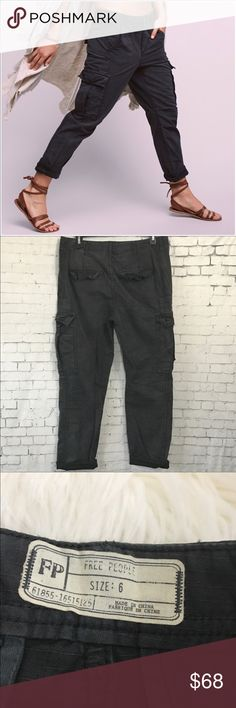 """💲⬇️ Free People Wild Nothing Rugged Cargo Pants 6 These are brand new with tags!  Super cute Cargo Pants that look great rolled up or left down. Charcoal with factory fading. Inseam 25"""" rolled, 29"""" unrolled. Waist measures 16"""" across. 10.5"""" rise. Free People Pants"""