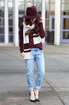3K7A9602. Boyfriend jeans. Burgandy sweater and hat. Scarf. Heels.