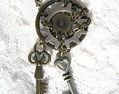 Wrapped Chain Gear Necklace with Keys Steampunk Brass Silver