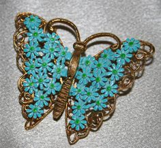 Turquoise Butterfly Pin | eBay