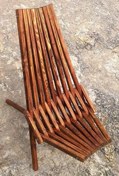 Handsome Stick Chair With Dark Walnut Finish, Outdoor Furniture, Patio  Chairs, Wood Folding