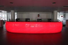 avonite reception desk red light