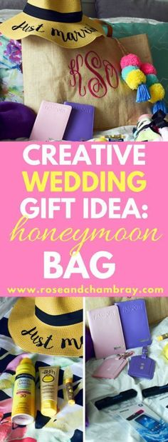 Finally, a creative wedding and bridal shower gift for the bride and groom! A perfect group gift idea for bridesmaids or the maid of honor! Bridal Shower Gifts For Bride, Wedding Gifts For Bride And Groom, Bridal Shower Rustic, Bridal Shower Decorations, Bride Gifts, Honeymoon Gift Baskets, Wedding Gift Baskets, Honeymoon Gifts, Honeymoon Ideas
