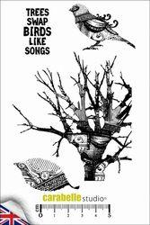 Tree & Bird - A6 formaat, 4 stempels