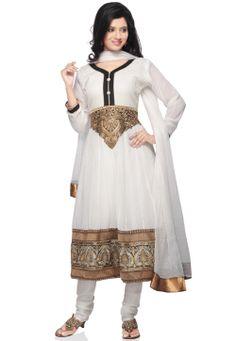 White Faux Georgette Readymade Anarkali Churidar Kameez @ $122.00