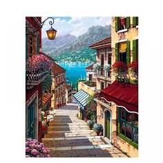 Frame Coffee Town Landscape Painting By Numbers Wall Art Diy Oil Painting Home Decor For Room Decoration Simple Oil Painting, Oil Painting On Canvas, Diy Painting, House Painting, Acrylic Canvas, Painting Abstract, Painting Clouds, Italy Painting, China Painting