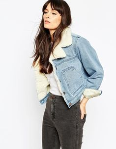 ASOS Denim Cropped Jacket In Mid Stone Wash With Borg Lining And Collar