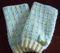 Crochet Fingerless Gloves  Lemon and Lime