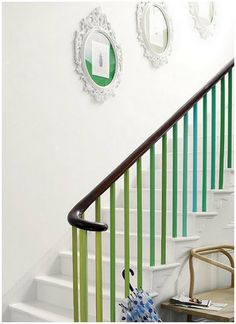 colorful railing - would be cute in a camp/lakehouse!