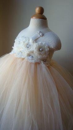 Flower girl dress  tutu dress champagne by Theprincessandthebou, $89.00