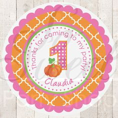 Pumpkin Birthday Party Favor Stickers Thank by sosweetpartyshop