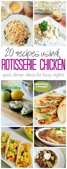 Leftover Rotisserie Chicken Recipes to help you make a Quick Dinner on Busy Nights. Perfect for Moms who don't have time to Cook a Full Meal but want a Quick Dinner Idea using Rotisserie Chicken.