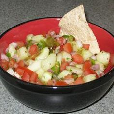 Cool Cucumber Salsa Allrecipes.com    very good and yummy just made this for the first time only took about 20 mins to chop everything up.