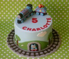 Photo Of Thomas The Train Cake W/ Tracks Surrounding For Five Year Old cakepins.com