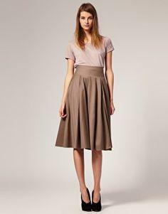 Jupe sous le genou Wool Mix Mid Calf Full Skirt ASOS