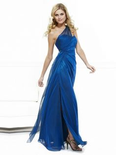 Sheath/Column One Shoulder Chiffon Satin Ankle-length Royalblue Ruffles Prom Dresses