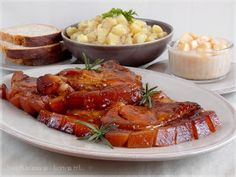 ...konyhán innen - kerten túl...: Sörös-mézes karaj Chicken Wings, Shrimp, Bacon, Meat, Food, Essen, Meals, Yemek, Pork Belly