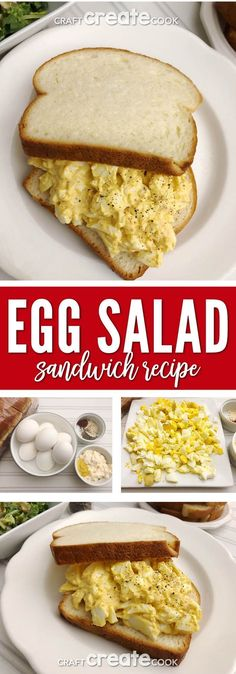 This Egg Salad Sandwich Recipe is easy to make and tastes fantastic too. via Craft Create Cook This Egg Salad Sandwich Recipe is easy to make and tastes fantastic too. via Craft Create Cook Salat Sandwich, Egg Salad Sandwiches, Egg Salad Sandwich Recipe Healthy, Healthy Egg Salad, Best Egg Salad Recipe, Pollo Buffalo, Buffalo Chicken, Gourmet Recipes, Cooking Recipes