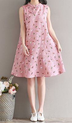 Women loose fit plus over size pocket dress skater skirt plate buckle pink chic Stylish Dresses, Simple Dresses, Cute Dresses, Girls Dresses, Summer Dresses, Short Dresses, Frock Fashion, Fashion Dresses, Casual Frocks