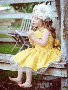 kids fashion, girls fashon, dress, hair, yellow