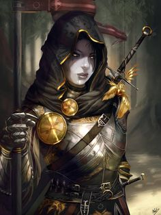 Art featuring medieval knights and their fantasy/sci-fi counterparts. High Fantasy, Fantasy Women, Fantasy Girl, Dnd Characters, Fantasy Characters, Female Characters, Fantasy Armor, Medieval Fantasy, Fantasy Fighter