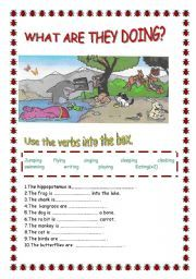 English worksheet: WHAT ARE THEY DOING?-ANIMALS