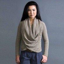 Pretty wrap cardigan knitting pattern from Pam Powers Designs #knitting