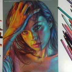 Colorful and Luminous Portrait Drawings. By Jenna Pencil Drawings Colorful Portrait Drawings Art Drawings Sketches, Realistic Drawings, Colorful Drawings, Pencil Drawings, Portrait Au Crayon, L'art Du Portrait, Self Portrait Drawing, Color Portrait, Murciano Art
