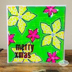 Marsha Valk   Mono Printed Christmas Card // using Gelli plate and Elizabeth Craft Designs dies
