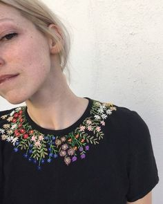 "sosuperawesome: "" Embroidered Clothing Tessa Perlow on Etsy See our or tags "" Hand Embroidery Patterns Flowers, Simple Embroidery, Shirt Embroidery, Embroidery Fashion, Hand Embroidery Designs, Embroidery On Kurtis, Kurti Embroidery Design, Embroidery On Clothes, Embroidered Clothes"
