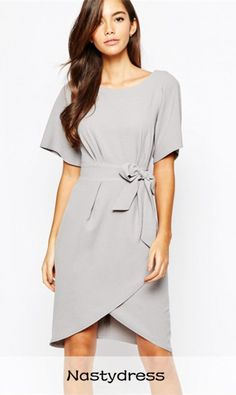 OL Style Scoop Neck Light Gray Short Sleeve Dress For Women