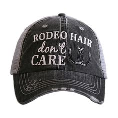 Katydid Collection Gray & Silver 'Rodeo Hair' Trucker Hat ($17) ❤ liked on Polyvore featuring accessories, hats, grey hat, embroidered hats, silver hat, gray brim hats and brimmed hat