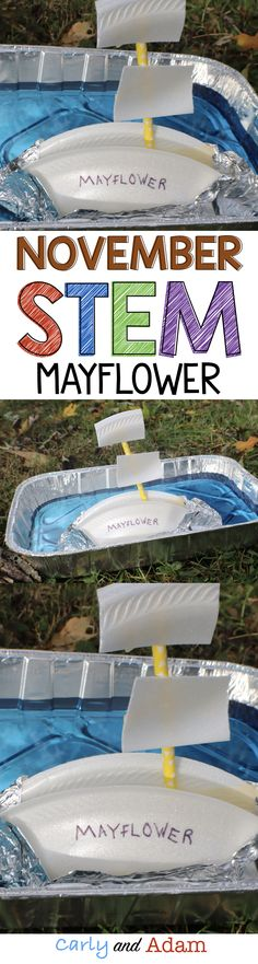 For this November themed STEM challenge students design and build a Mayflower boat that is both strong and fast.